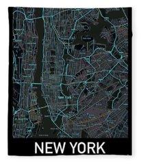 New York City Map Black Edition Fleece Blanket