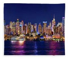 New York City Nyc Midtown Manhattan At Night Fleece Blanket