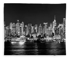 New York City Nyc Skyline Midtown Manhattan At Night Black And White Fleece Blanket