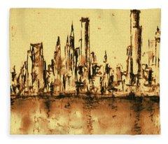 New York City Skyline 79 - Water Color Drawing Fleece Blanket