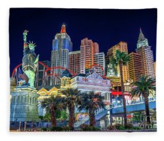New York New York Casino At Dusk Low Angle Golden Knights Fleece Blanket