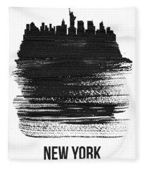 New York Skyline Brush Stroke Black Fleece Blanket