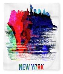 New York Skyline Brush Stroke Watercolor   Fleece Blanket