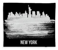 New York Skyline Brush Stroke White Fleece Blanket