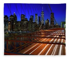 New York Skyline From The Brooklyn Bridge Fleece Blanket