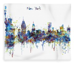 New York Watercolor Skyline Fleece Blanket
