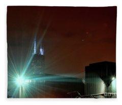 Night In The Industrial City Fleece Blanket