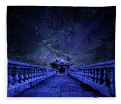 Night Sky Over The Temple Fleece Blanket