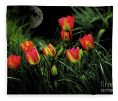 Night Tulips Fleece Blanket