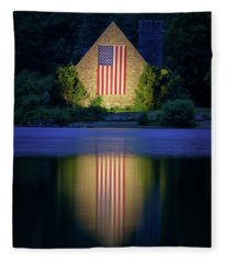 Nightfall At The Old Stone Church Fleece Blanket