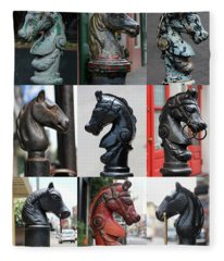 Nine Horse Head Hitching Posts Fleece Blanket