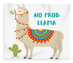 No Prob Llama - Baby Room Nursery Art Poster Print Fleece Blanket