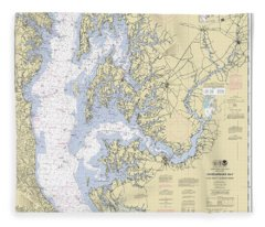 Chesapeake Bay, Cove Point To Sandy Point Nautical Chart 12263 Fleece Blanket