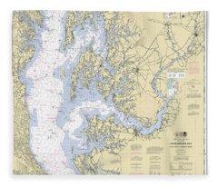 Chesapeake Bay, Cove Point To Sandy Point Nautical Chart Fleece Blanket