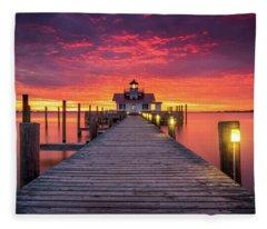 North Carolina Outer Banks Manteo Lighthouse Obx Nc Fleece Blanket