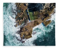 Fleece Blanket featuring the pyrography North Curl Curl Pool by Chris Cousins