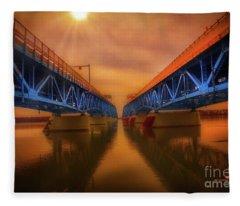 North Grand Island Bridge Fleece Blanket