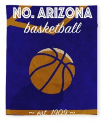 Northern Arizona University Retro College Basketball Team Poster Fleece Blanket