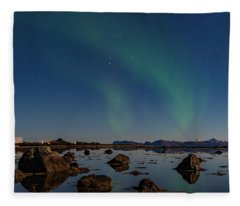 Northern Lights Over A Swamp  Fleece Blanket