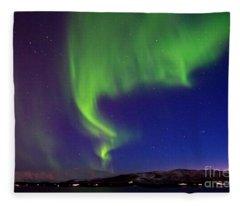 Northern Lights Over Tromso Norway Fleece Blanket