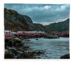 Norway Panoramic View Of Lofoten Islands In Norway With Sunset Scenic Fleece Blanket