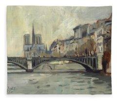 Notre Dame During Winter Fleece Blanket