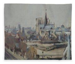 Notre Dame Of Paris Winter IIi Fleece Blanket
