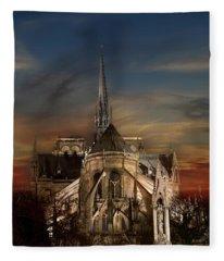 Notre Dame Paris Fleece Blanket