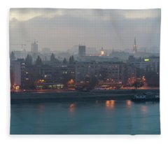 Novi Sad Night Cityscape Fleece Blanket