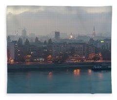 Novi Sad Night Cityscape Fleece Blanket