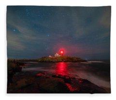 Nubble At Night Fleece Blanket