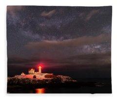 Nubble Light At Night Fleece Blanket