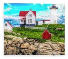 Nubble Light York Maine. Fleece Blanket