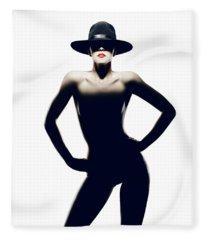 Nude Woman With Hat Fleece Blanket