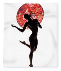Nude Woman With Red Parasol Fleece Blanket