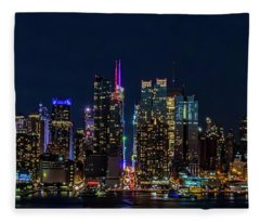 Nyc At Night Fleece Blanket