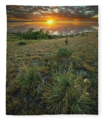 Oahe Sunset  Fleece Blanket