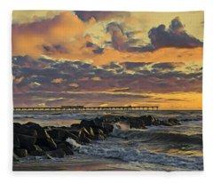 Ob Sunset No. 3 Fleece Blanket