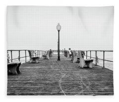 Fleece Blanket featuring the photograph Ocean Grove Pier 1 by Steve Stanger