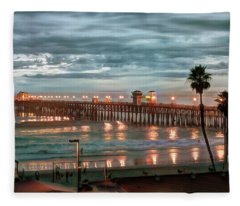 Oceanside Pier At Dusk Fleece Blanket