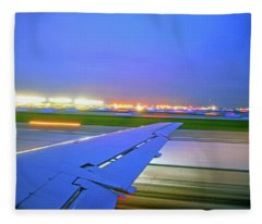 O'hare Night Takeoff Fleece Blanket