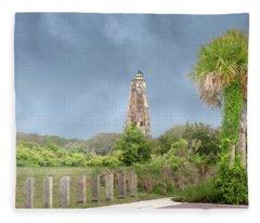 Old Baldy Lighthouse Bald Head Island Fleece Blanket