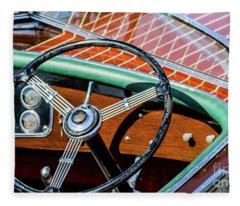 Old Boat Steering Wheel Fleece Blanket