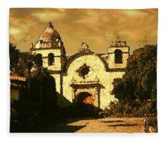 Old Carmel Mission - Watercolor Painting Fleece Blanket