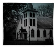 Old Church - Bw - Dark Fleece Blanket