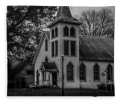 Old Church - Bw Fleece Blanket