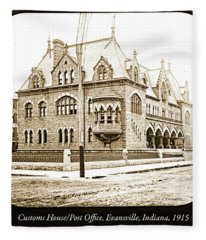 Old Customs House And Post Office, Evansville, Indiana, 1915 Fleece Blanket