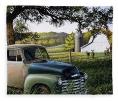 Old Farm Truck Fleece Blanket