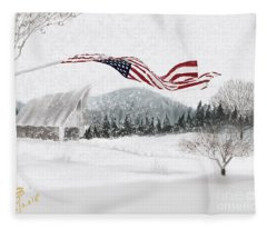 Old Glory In The Snow Fleece Blanket