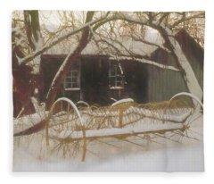 Old Hay Rake Setting In The New England Winter. Fleece Blanket